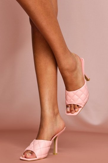 Pink Quilted Mules