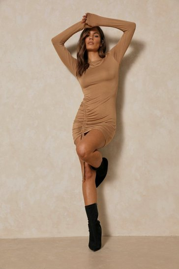 Camel Contour Side Ruched Bodycon Dress