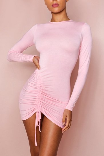 Pale pink Contour Side Ruched Bodycon Dress