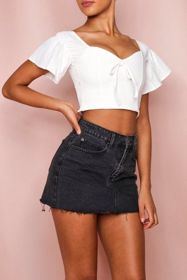 White Frill Sleeve Tie Front Crop Top