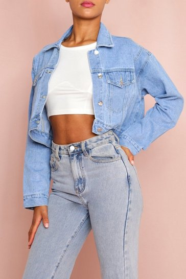 Light wash Cropped Oversized Denim Jacket