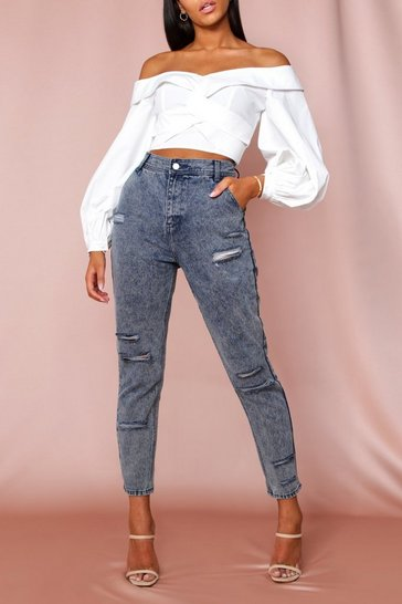 Indigo Washed Distressed Denim Jeans