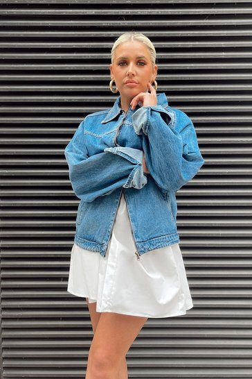 Mid wash Oversized Boyfriend Denim Trucker Jacket