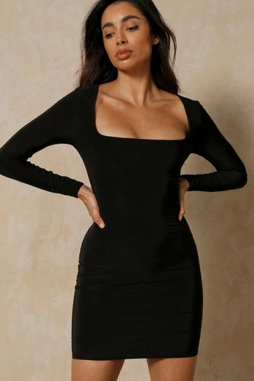 Black Double Layer Square Neck Bodycon Mini Dress