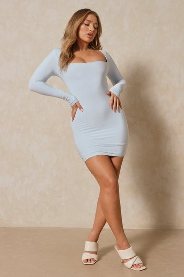 Blue Double Layer Square Neck Bodycon Mini Dress