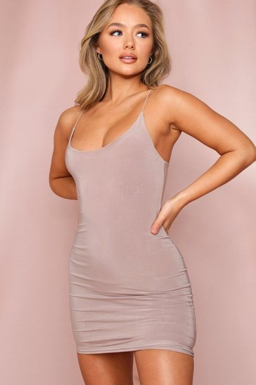 Taupe Double Layer Spaghetti Strap Bodycon Mini Dress