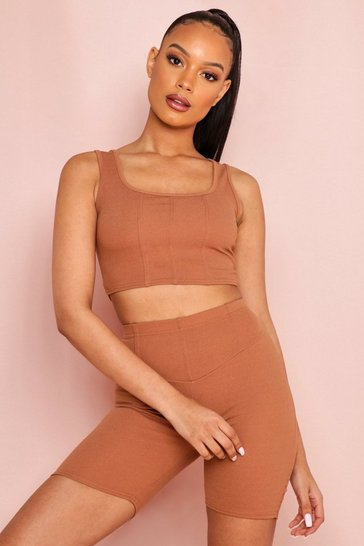 Ivory Seam Detail Crop Top Biker Short Set