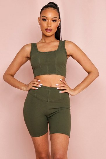 Khaki Seam Detail Crop Top Cycling Short Set