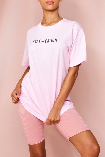 Pale pink Oversized Stay-Cation Tonal Printed T-Shirt