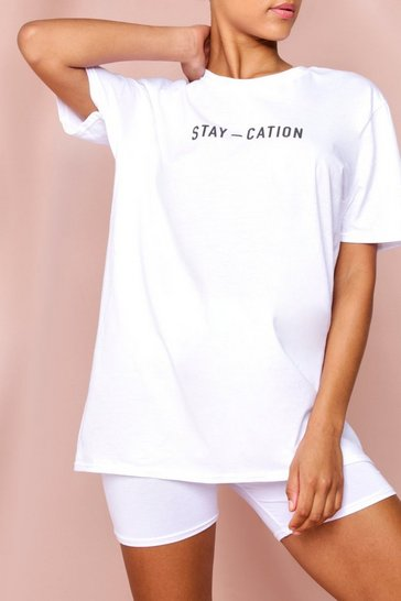 White Oversized Stay-Cation Tonal Printed T-Shirt