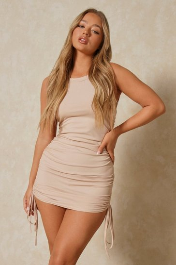 Stone Ruched Side Sleeveless Dress