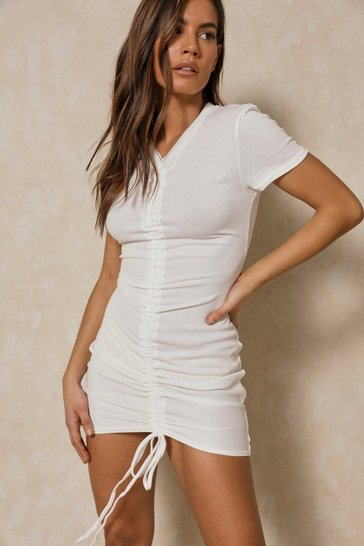 White Rouched Front Cap Sleeve Dress