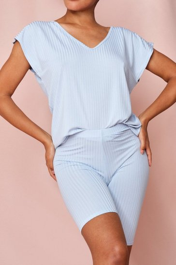 Blue V Neck Boxy Top And Cycling Short Set