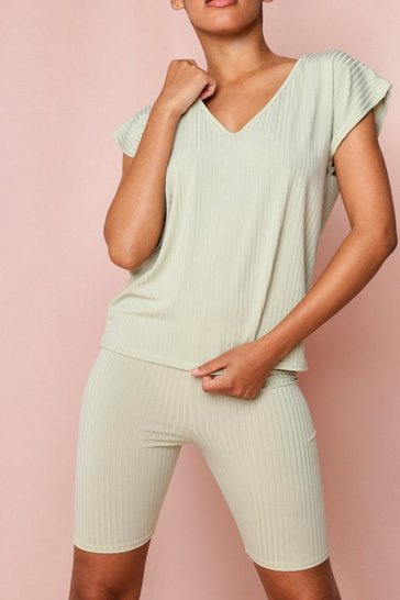 Sage V Neck Boxy Top And Cycling Short Set