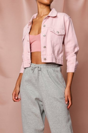 Pink Pastel Cropped Denim Jacket