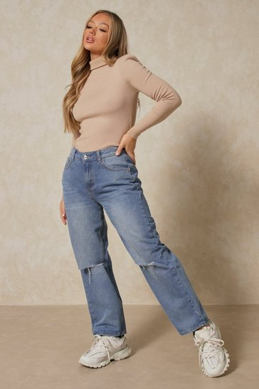 Mid wash Ripped Knee Loose Fit Boyfriend Jeans