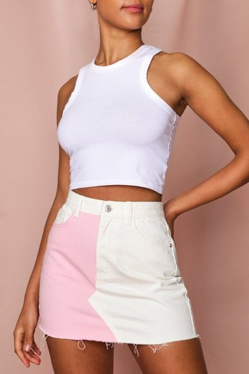 Pink Pastel Contrast Denim Mini Skirt