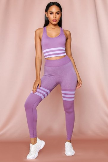 Lilac Seamless Sports Stripe Leggings Crop Top Set