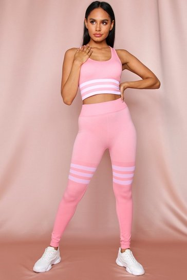 Peach Seamless Sports Stripe Leggings Crop Top Set