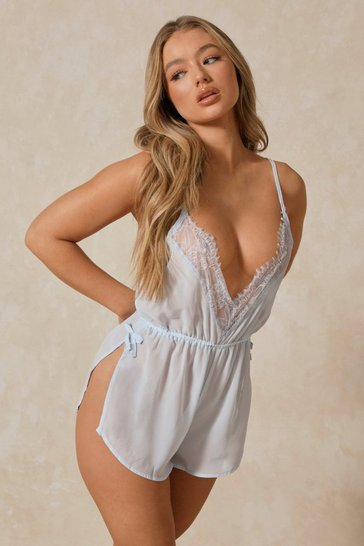 Blue Lace Trim Chiffon Teddy