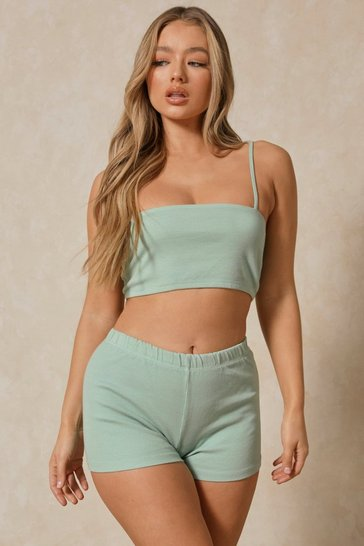 Sage Ribbed Short Two-Piece