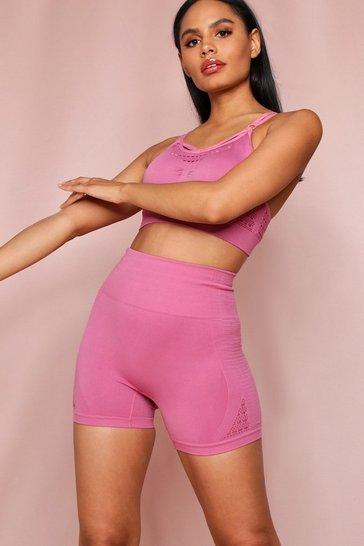 Pink Strappy Crop Top Seamless Short Set