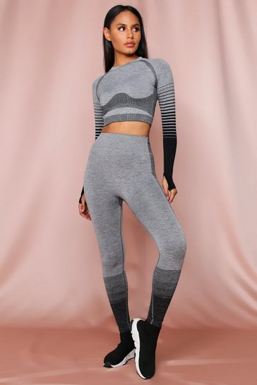 Black Ombre Side Detail Seamless Legging Set