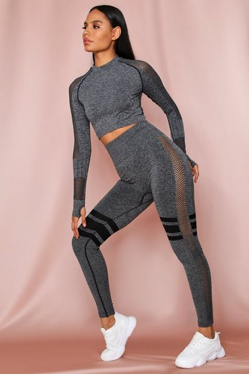 Grey Contrast Detail Crop Top Legging Set