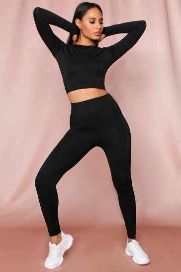 Black Long Sleeve Cropped Seamless Legging Set