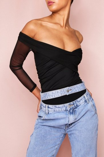 Black Off The Shoulder Wrap Front Bodysuit