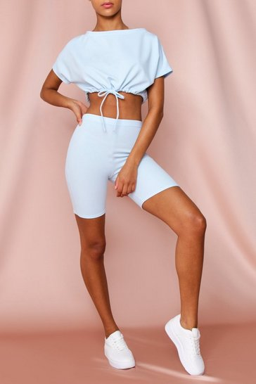 Baby blue Drawstring Crop Top & Cycling Short Set