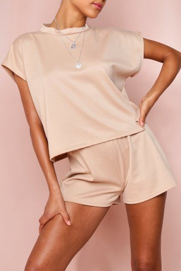 Camel Boxy Top & Short Lounge Set