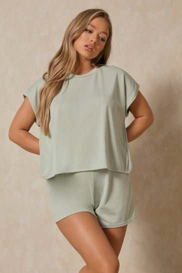 Sage Boxy Top & Short Lounge Set