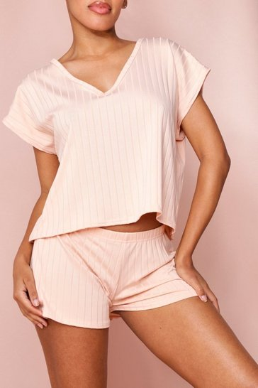 Blush Bandage Boxy V Neck Top & Short Set