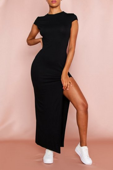 Black Capped Sleeve Split Leg Maxi Dress