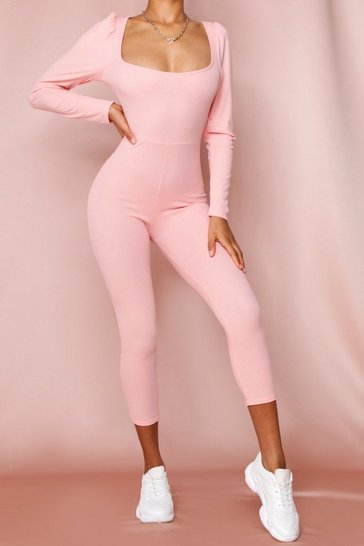 Peach Ribbed Puff Shoulder Unitard