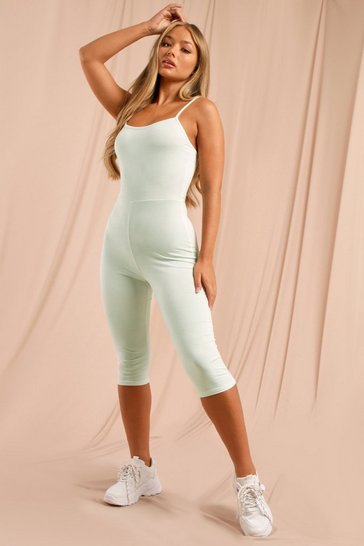 Mint Double Layer Low Scoop Back Cropped Unitard