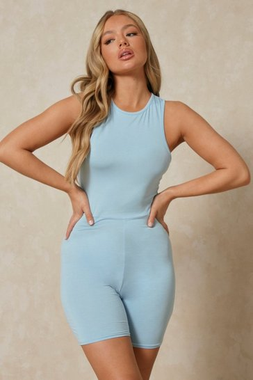 Blue Double Layer Racer Back Short Unitard