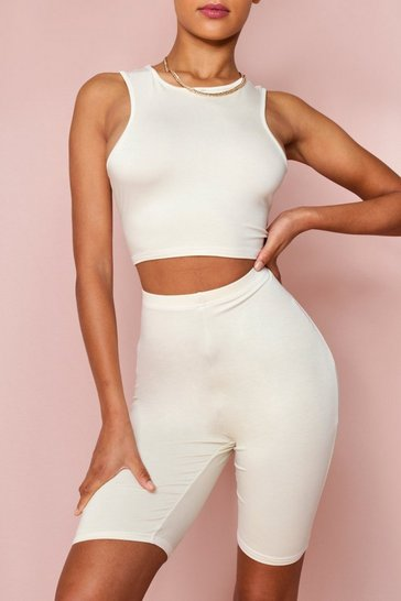 Cream Double Layered Racer Neck Crop Top