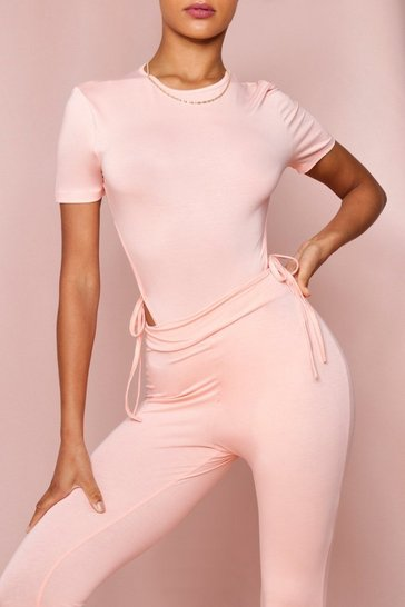 Peach High Leg Tie Side Thong Bodysuit