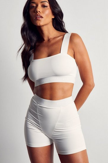 Cream MISSPAP Branded Elastic Tape Crop Top