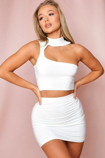 Cream Double Layered Bodycon Mini Skirt