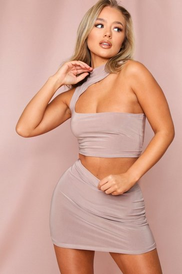Taupe Double Layered Bodycon Mini Skirt