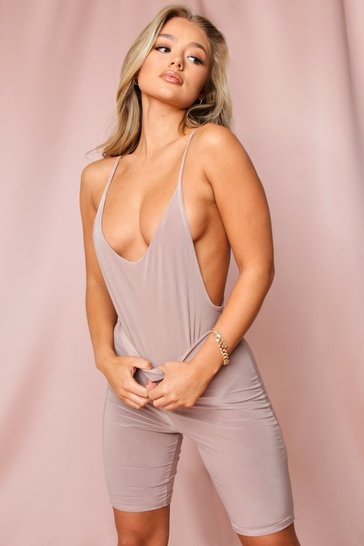 Taupe Double Layered Backless Thong Bodysuit