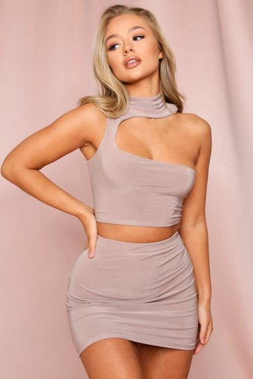 Taupe Double Layered High Neck Cut Out Crop Top