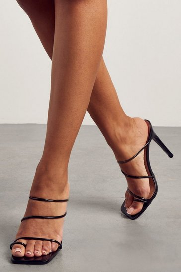 Black Strappy Square Toe Mules