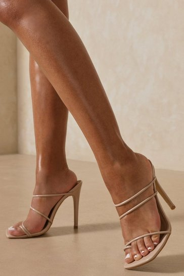 Nude Strappy Square Toe Stiletto Mules