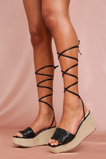 Black Lace Up Leather Look Wedges