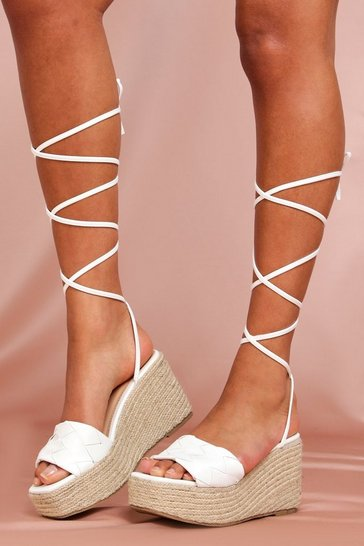 White Lace Up Leather Look Wedges