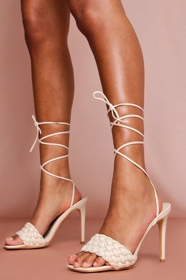 Nude Lace Up Square Toe Heels